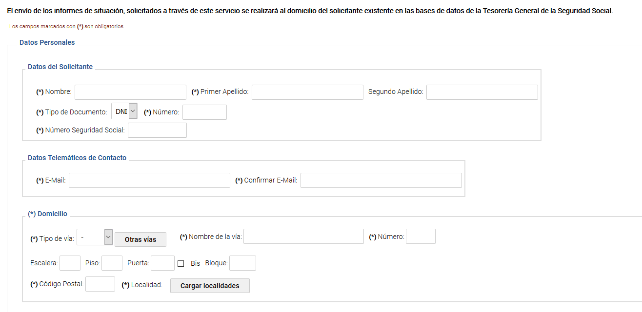 solicitud vida laboral 2018