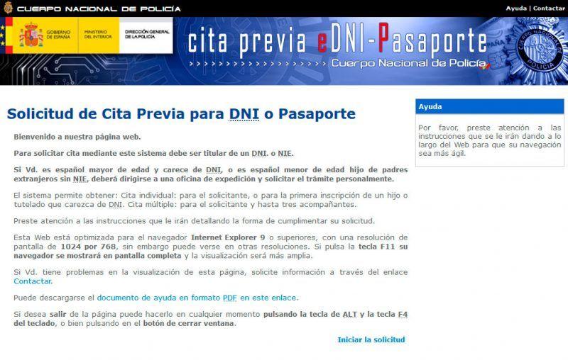 Solicitud de Cita Previa para DNI o Pasaporte