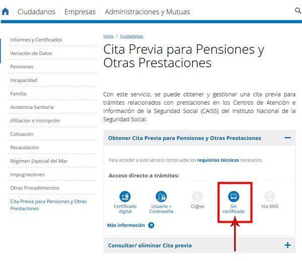 Cita Previa INSS sin certificado