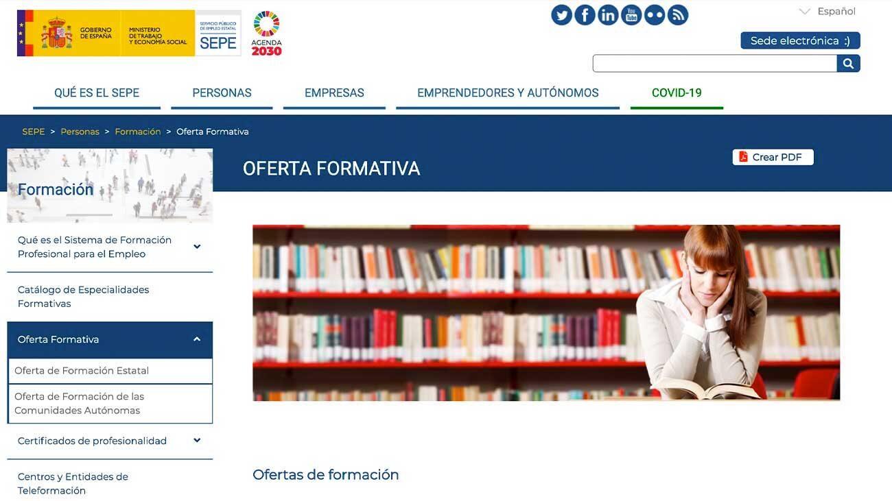 cursos SEPE abierto plazo de inscripción
